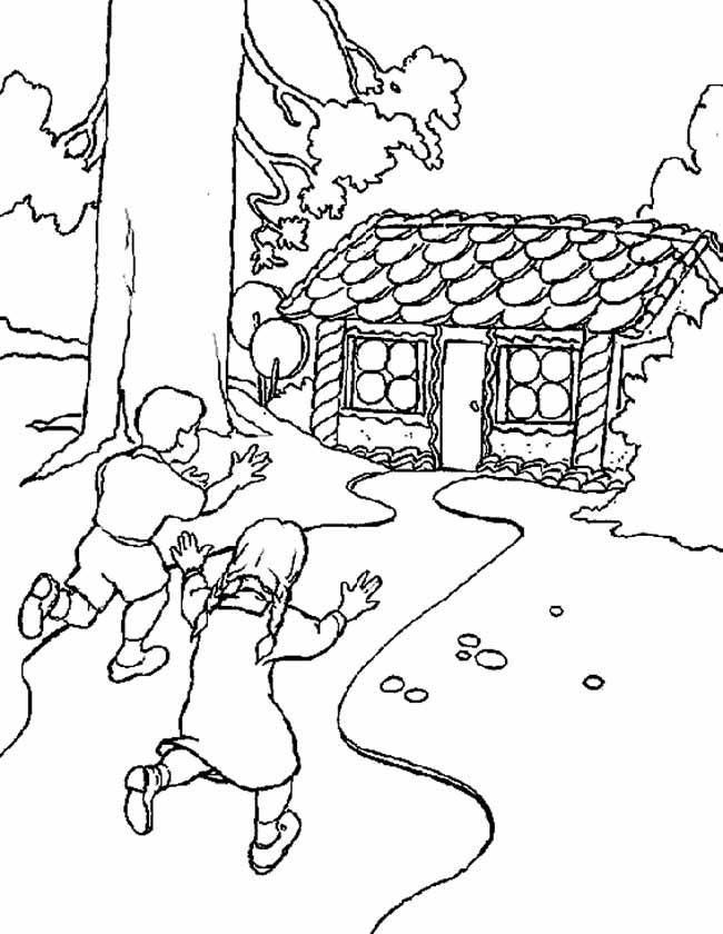 Gratis kleurplaat Hans en Grietje naar het snoephuis
