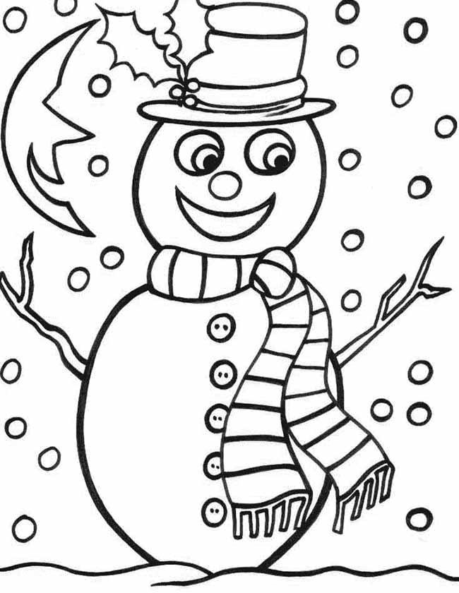 Gratis kleurplaat sneeuwpop