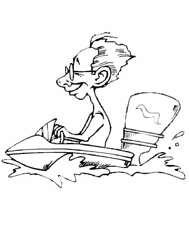 Gratis kleurplaat man op speedboot