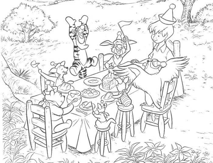 kleuren nu winnie the poeh met zijn vriendjes aan tafel