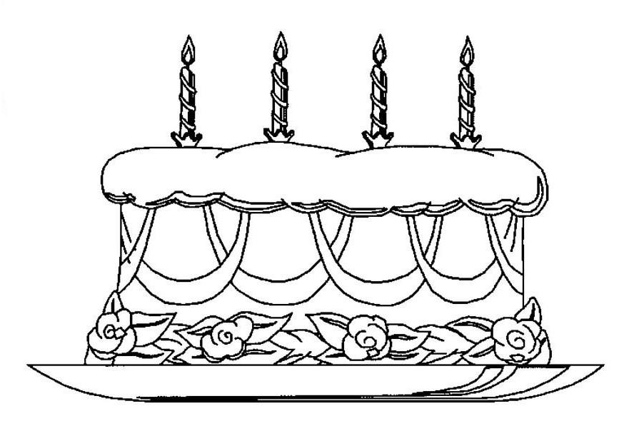 Kleuren Nu Verjaardagstaart Met Kaarsen Kleurplaten