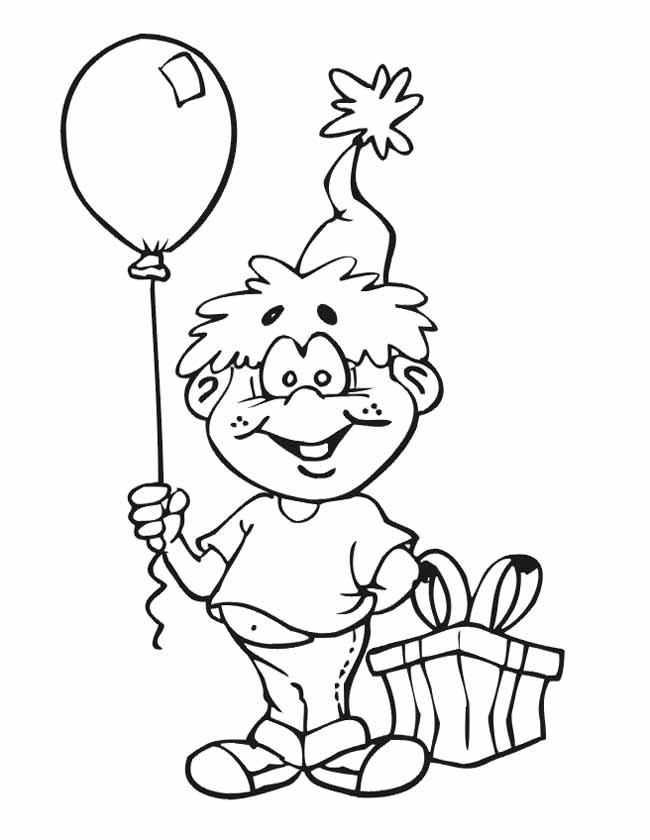 Gratis kleurplaat Blij met een kado en ballon