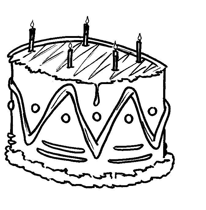 Gratis kleurplaat verjaardagstaart