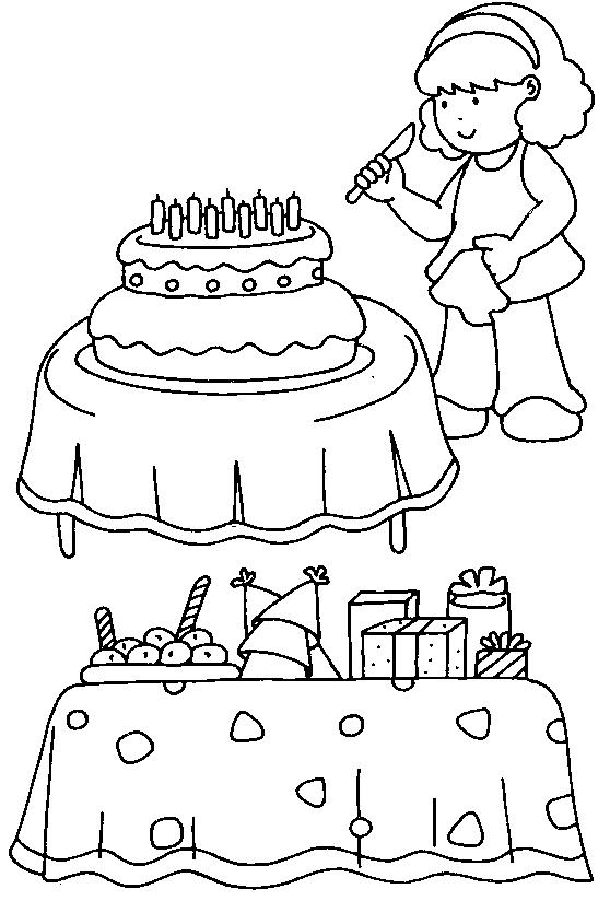 Gratis kleurplaat Meisje maakt taart