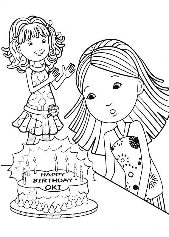 Gratis kleurplaat meisje blaast kaarsen op verjaardagstaart uit