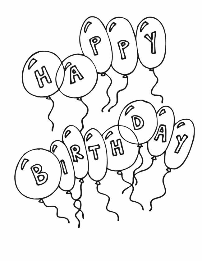 Kleuren.nu - Happy birthday ballonnen kleurplaten