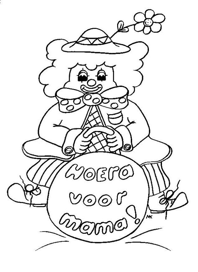 Kleurplaten Verjaardag Mama.Kleuren Nu Clown Kleurplaat Voor Mama Kleurplaten