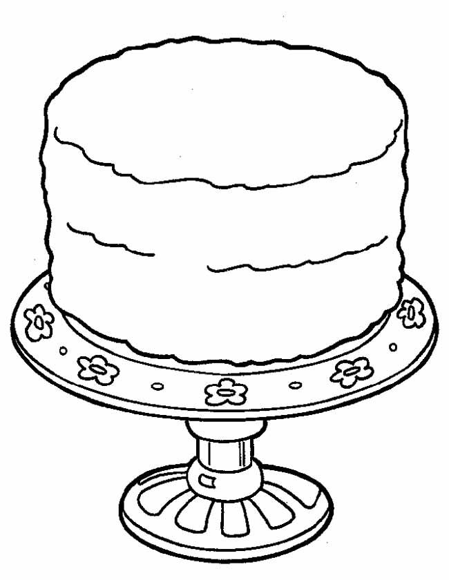 kleuren nu grote taart op een luxe schaal kleurplaten