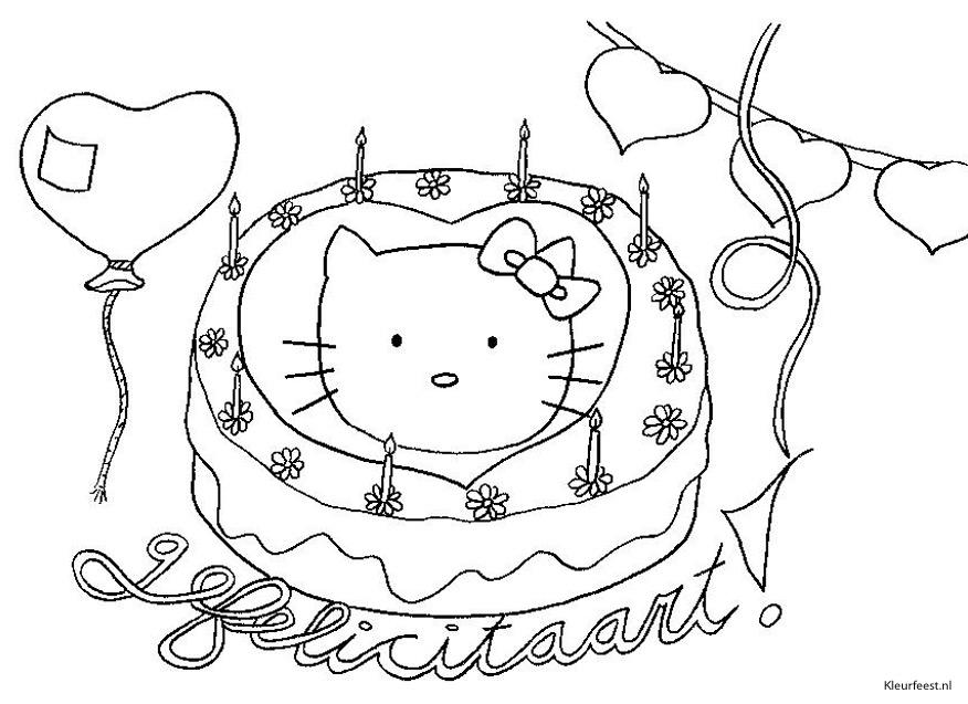 Kleuren Nu Verjaardagstaart Met Poes Erop Kleurplaten