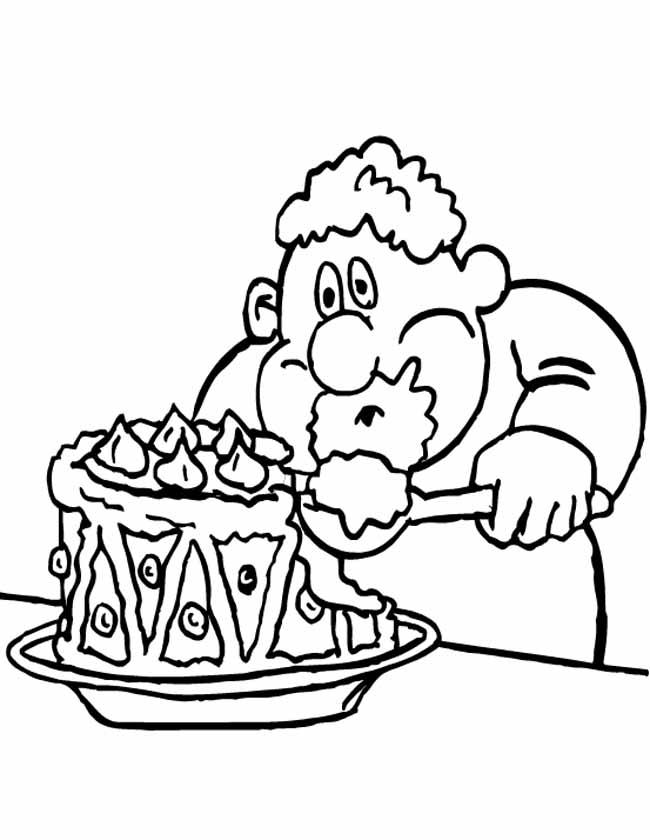 Gratis kleurplaat taart met slagroom