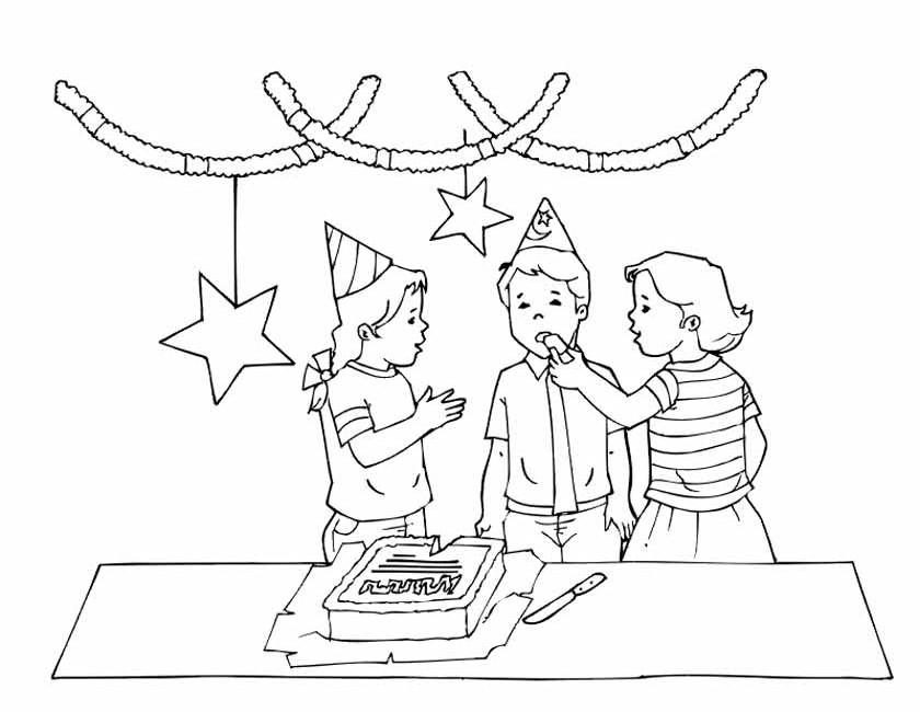 Gratis kleurplaat verjaardagsfeestje met slingers