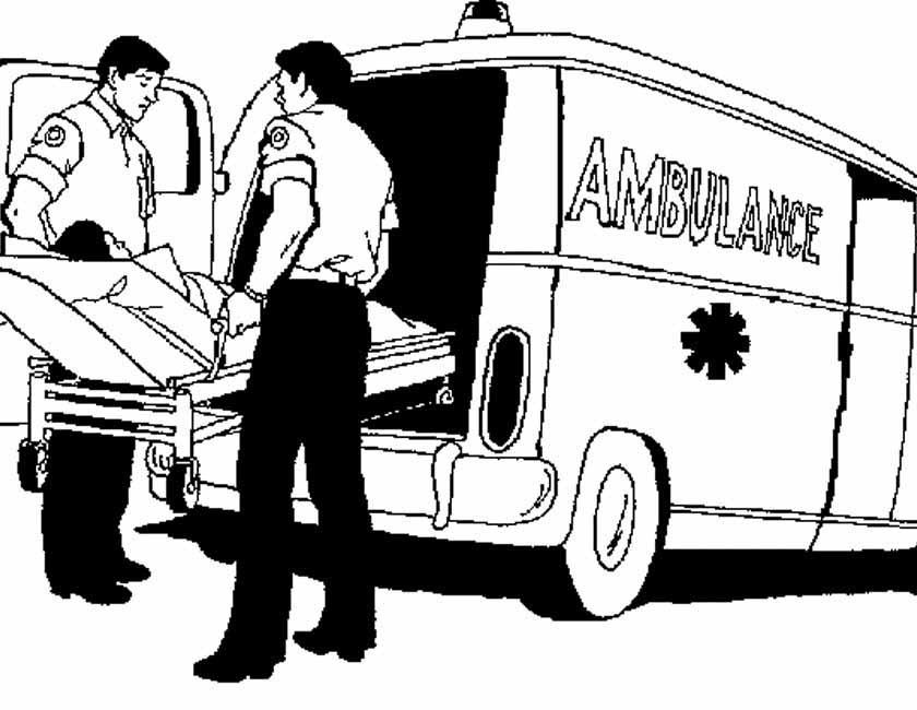Gratis kleurplaat Ambulance met brancard