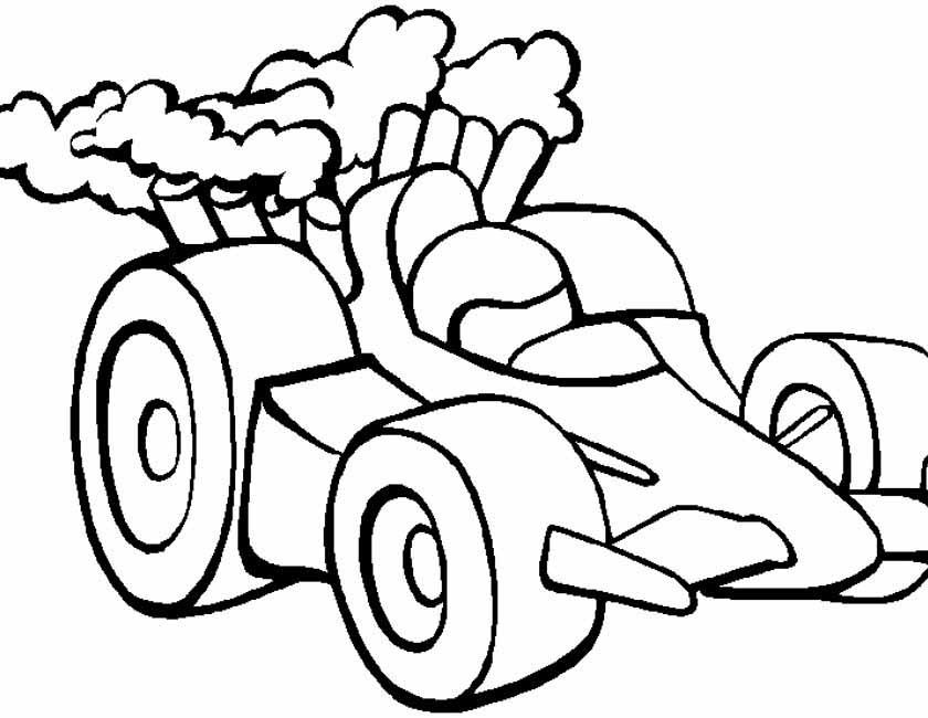 Gratis kleurplaat Formule 1 racewagen