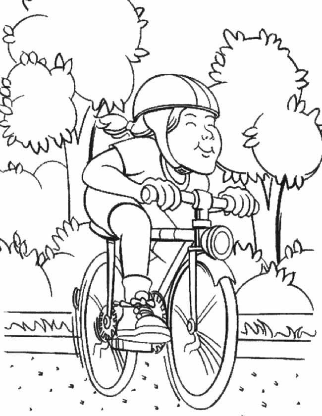 Gratis kleurplaat Op de fiets