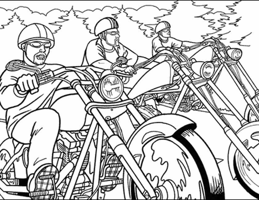 Gratis kleurplaat Groepje motorrijders