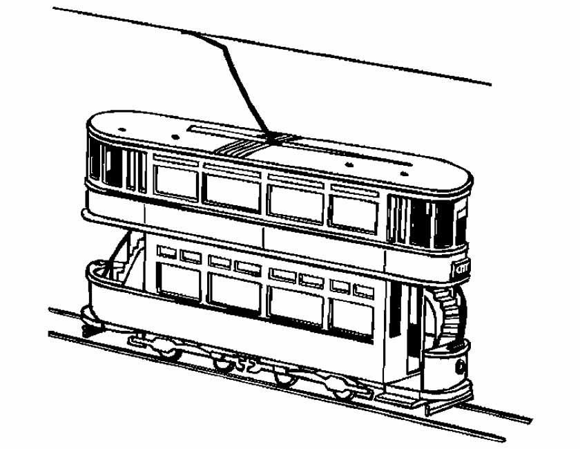 Gratis kleurplaat tram in de stad