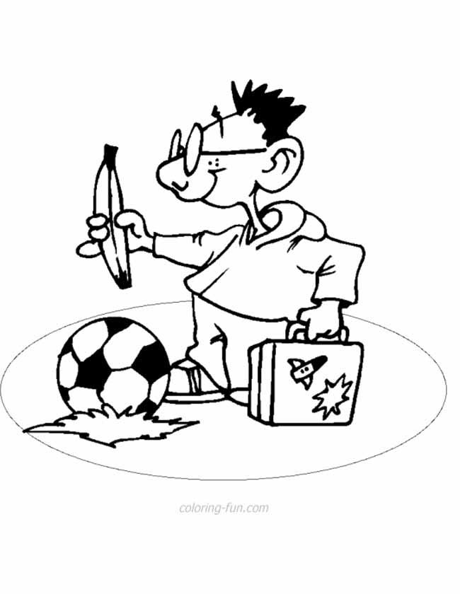Gratis kleurplaat met een voetbal op reis
