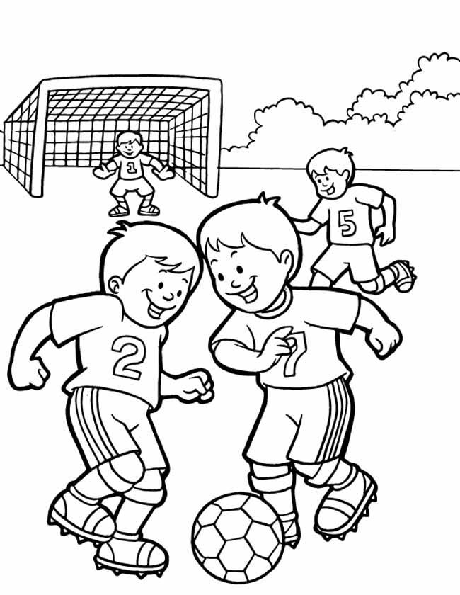 scoren kleurplaat voetbal kleuren nu scoren in een team kleurplaten