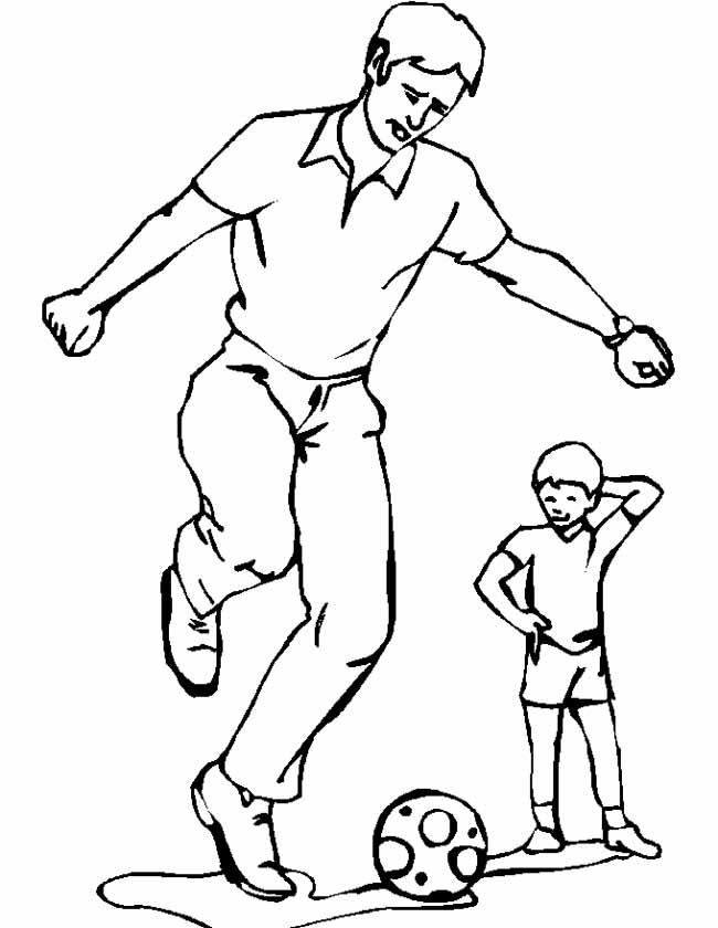 Gratis kleurplaat vader voetbalt met zoon