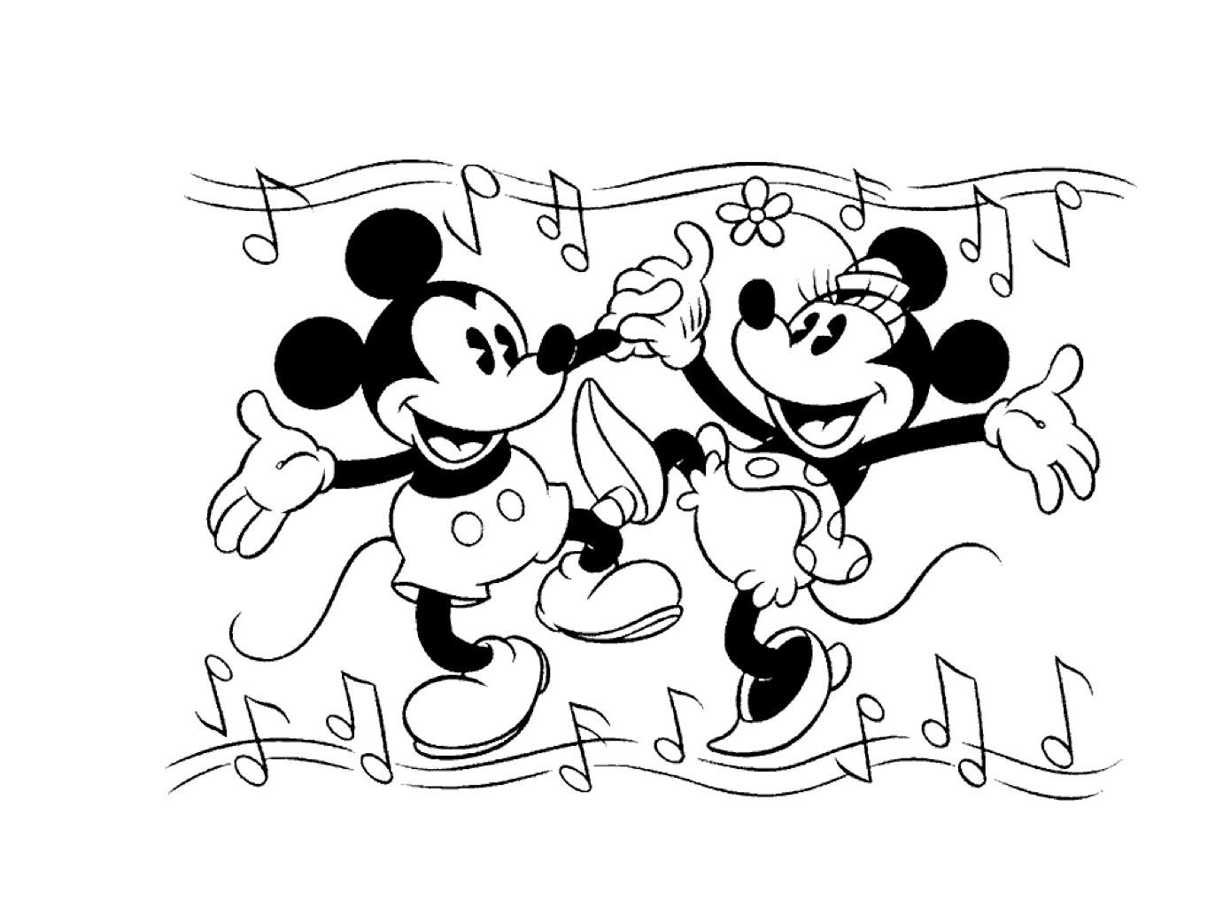 Gratis kleurplaat Mickey en Mini dansen