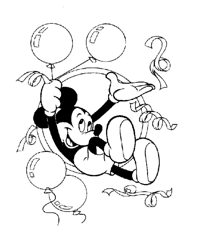 Gratis kleurplaat Mickey viert feest met ballonnen