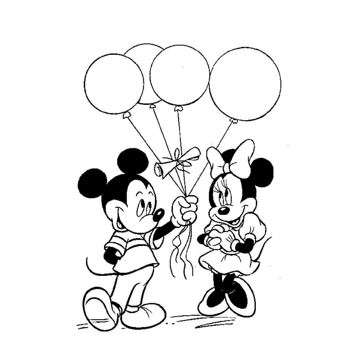 Kleurplaat Met Ballonnen Kleuren Nu Mickey Geeft Mini Balonnen Kleurplaten