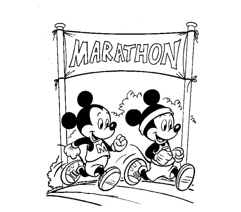Kleuren Nu Mickey Loopt De Marathon Kleurplaten