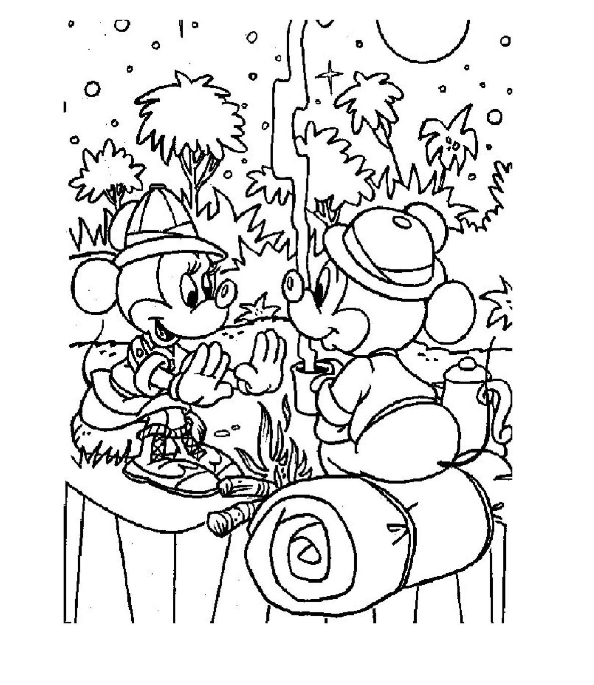 Gratis kleurplaat Mickey en Mini bij het kampvuur