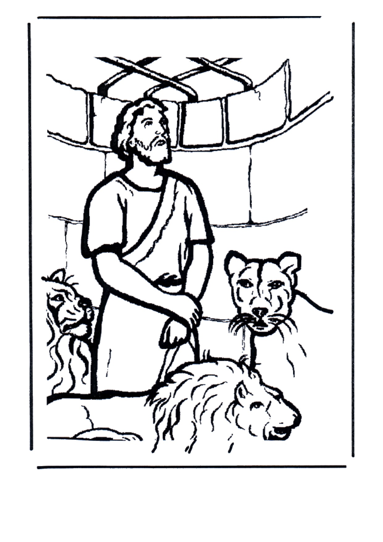 Gratis kleurplaat Daniel in de leeuwenkuil
