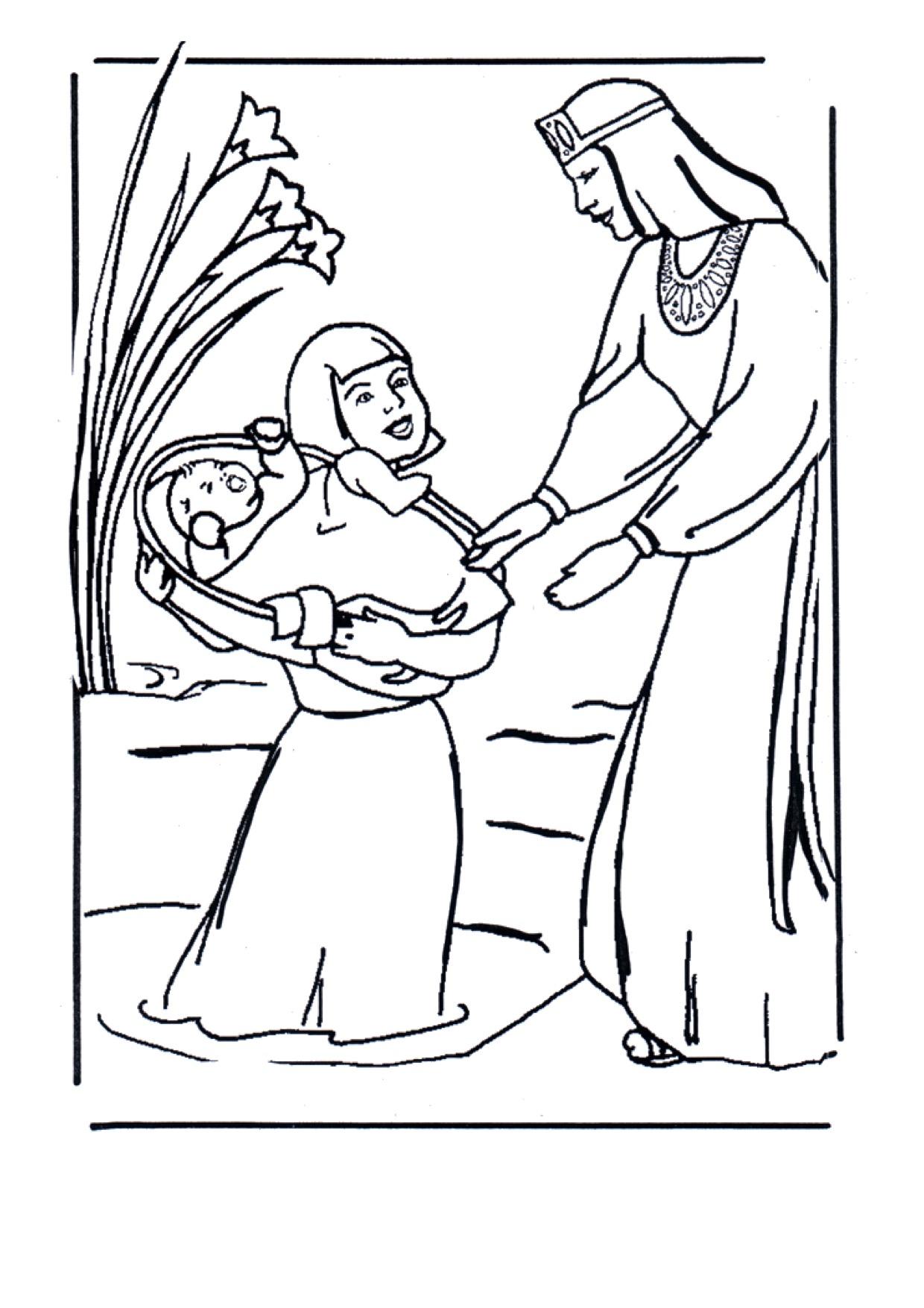 Gratis kleurplaat Mozes in het rieten mandje