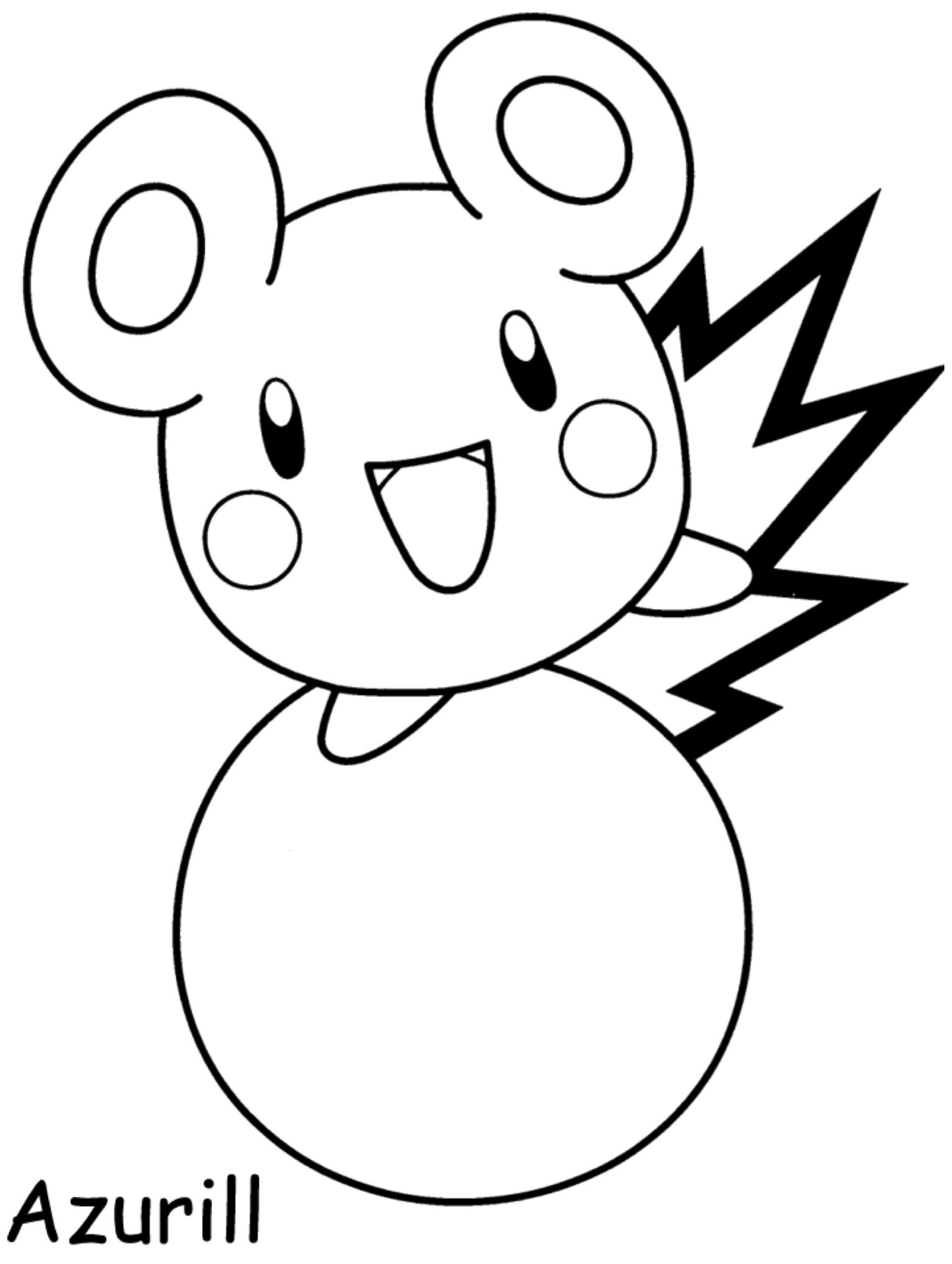 Gratis kleurplaat Pokemon Azurill