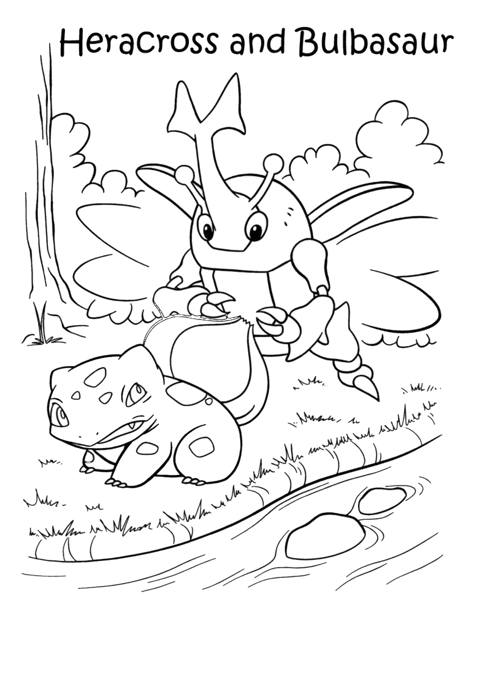 Gratis kleurplaat Pokemon Heracross en Bulbasaur