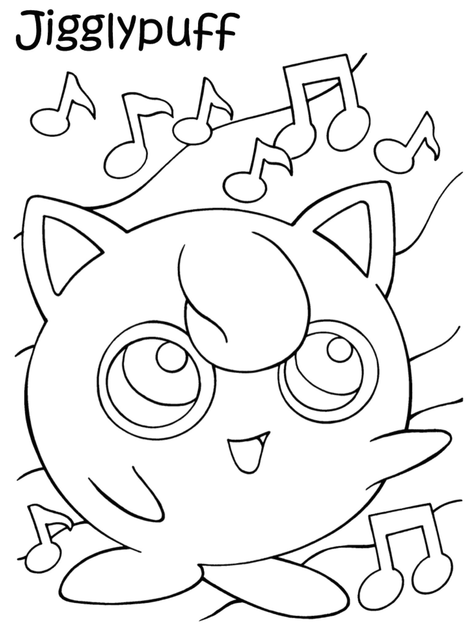 Gratis kleurplaat Pokemon Jiglypuff