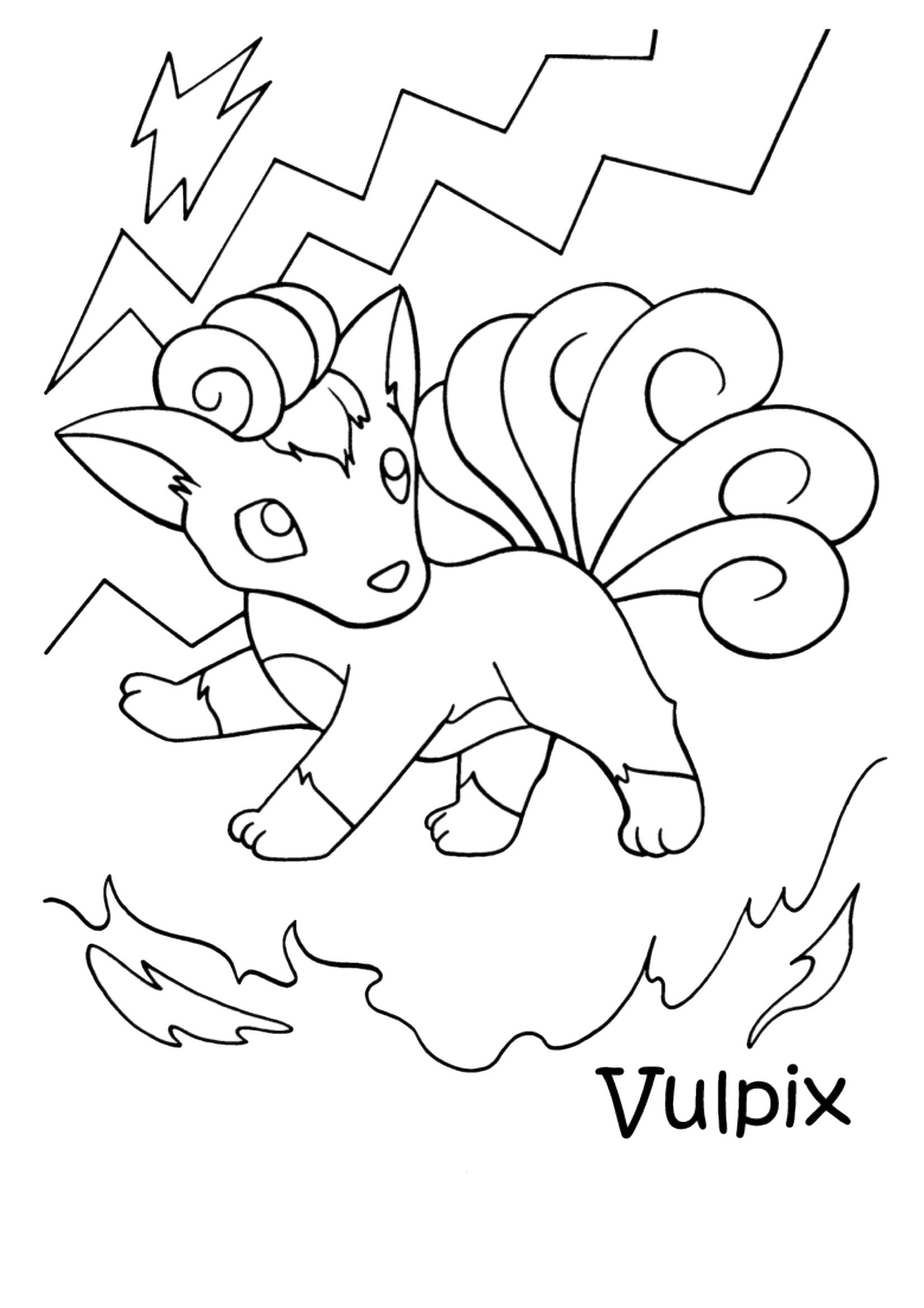 Gratis kleurplaat Pokemon Vulpix