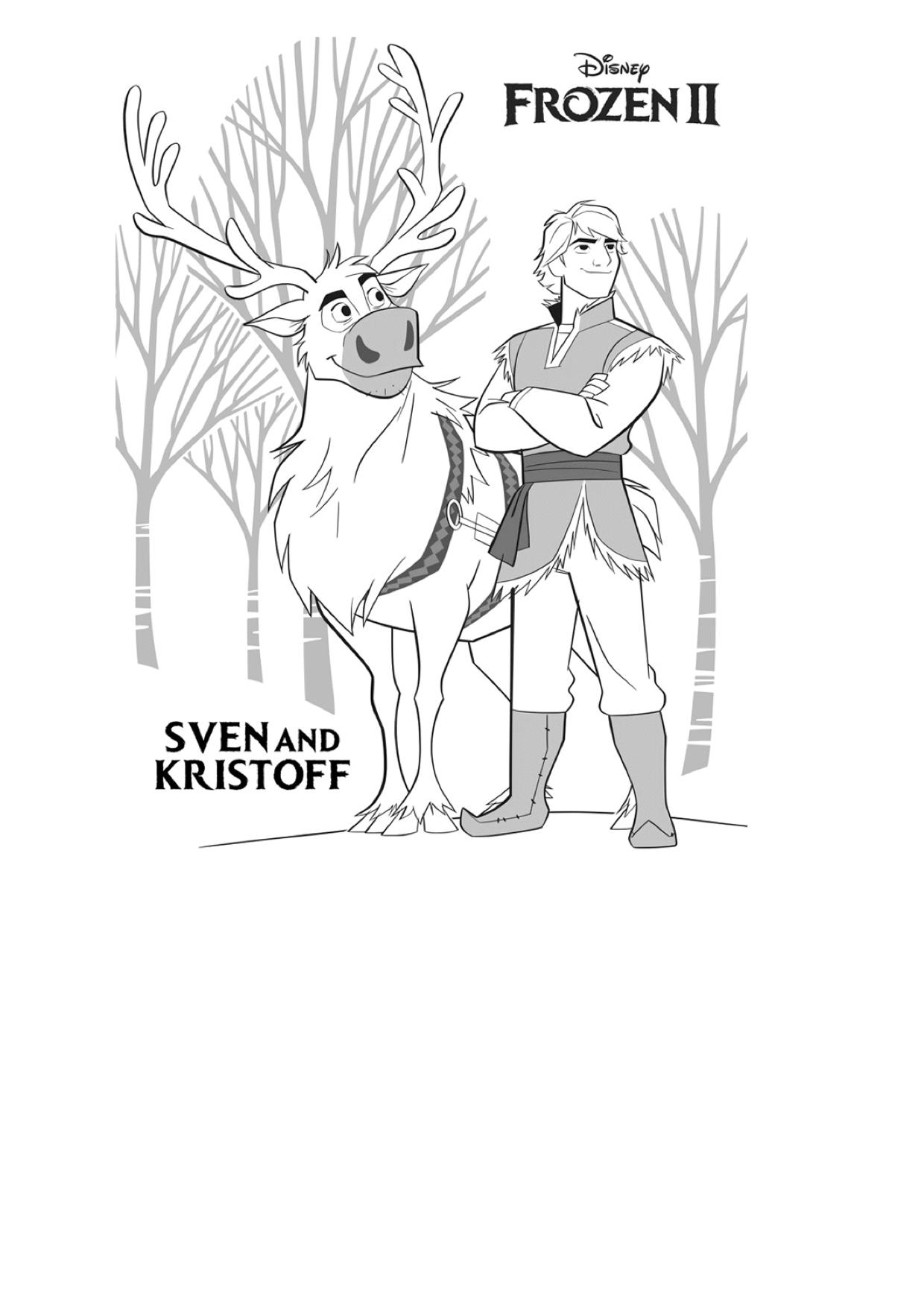 Gratis kleurplaat Sven en Kristoff