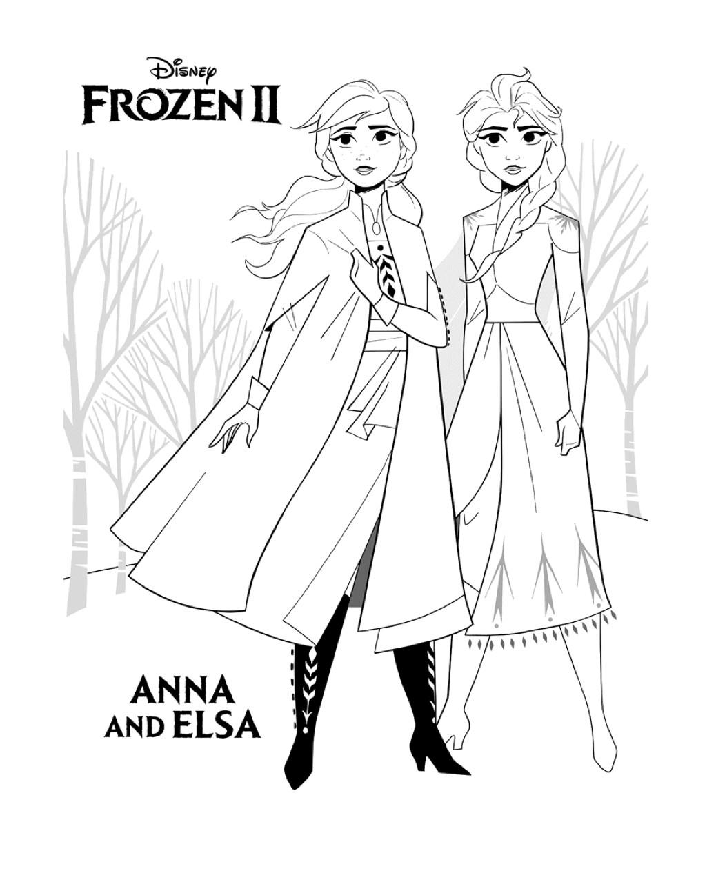 Gratis kleurplaat Anna en Elsa