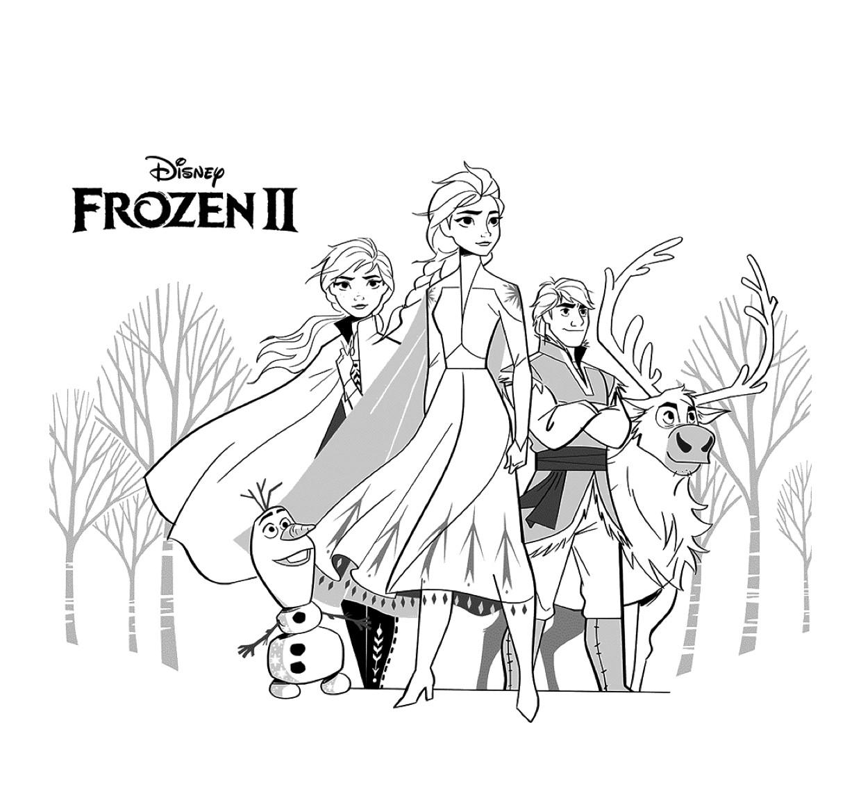 Gratis kleurplaat Elsa, Anna, Olaf, Kristoff en Sven